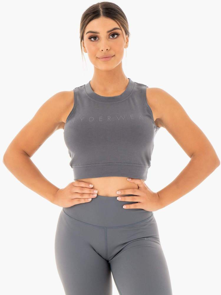 Motion Crop Top Charcoal