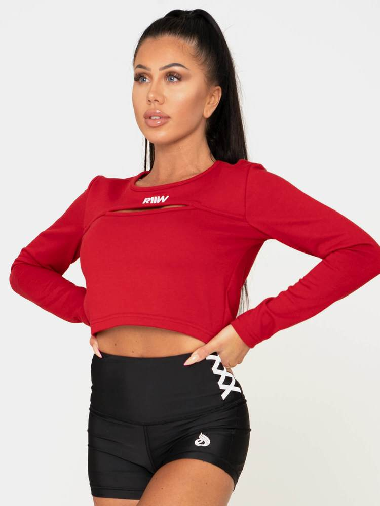 Keyhole Cropped Sweater Red