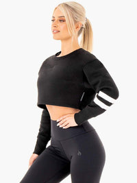 Motion Cropped Sweater Black
