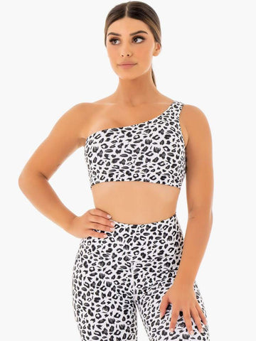 Adapt One Shoulder Sport Bra - Snow Leopard
