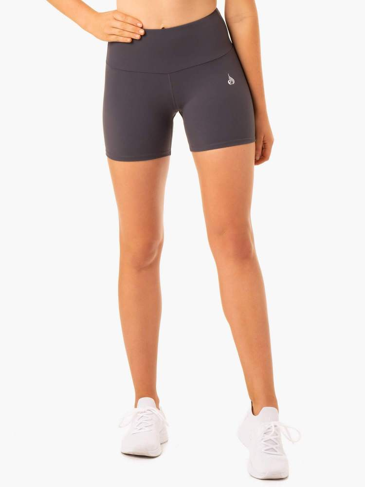 Staples Scrunch Bum Mid Length Shorts Charcoal