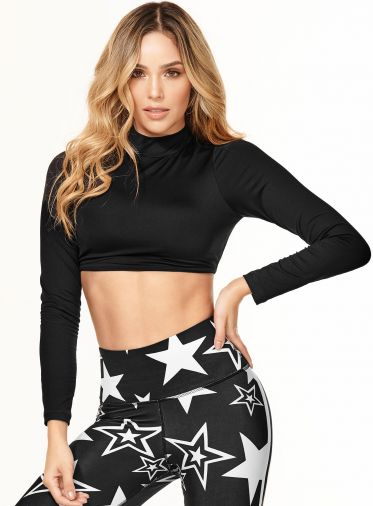 Long Sleeve Open Back Crop Black