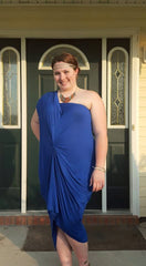 cobalt royal blue one shoulder dress