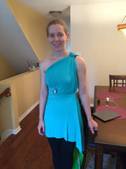 Turquoise one shoulder dress