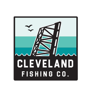 A square Cleveland Fishing Co. logo with a bridge and stripes.