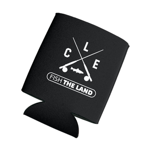Black beverage koozie with white CLE crossed rods logo and fish the land logo.