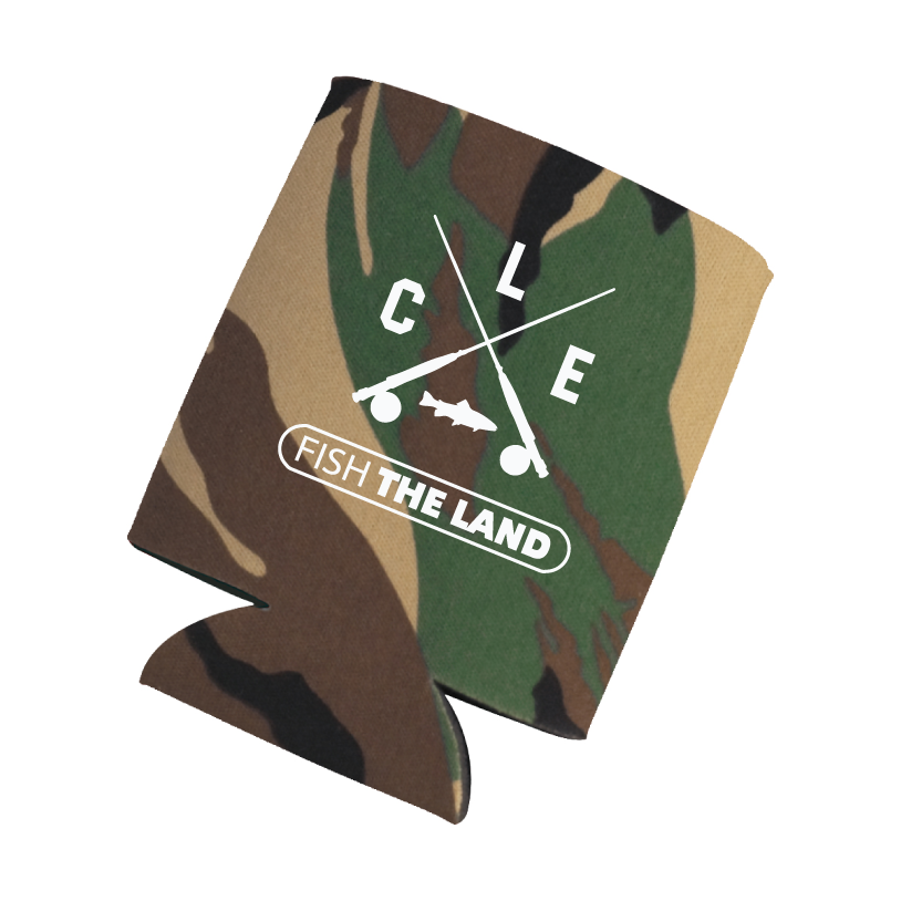 Camo drink koozie with white ale crossed rods logo and fish the land logo.