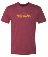 Cardinal red short sleeve fishing t-shirt with yellow Cleveland Fishing Co. logo across the chest.