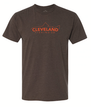 Brown short sleeve fishing t-shirt with orange fish logo across the chest.