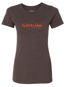 Women's brown short sleeve t-shirt with orange fish logo across the chest.