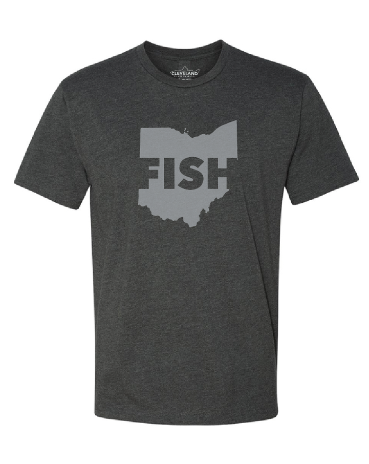 The front of a charcoal grey t shirt with a lighter grey outline of Ohio and the word FISH in it.