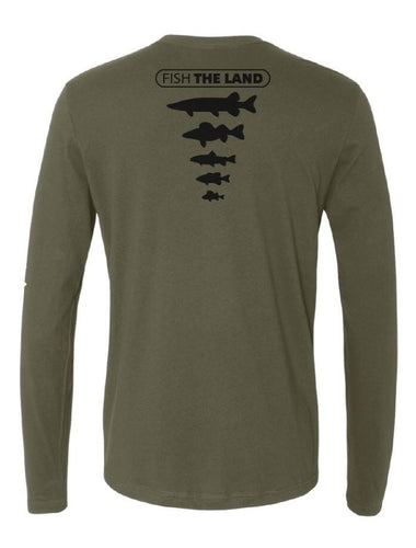 Back of a green long sleeve t-shirt with black Fish The Land fish species logo on the middle back.