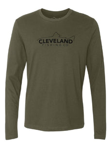 The front of a green long sleeve t-shirt with black Cleveland Fishing Co. fish silhouette logo on the front chest.