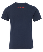 The back of a navy blue fishing t-shirt with red fish the land logo near the collar.