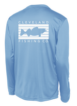 The back of a sky blue long sleeve performance shirt with a white rectangular logo with a walleye fish in the middle and Cleveland Fishing Co. on the outside.