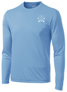 The front of a sky blue long sleeve performance shirt with a white CLE crossed rods logo on the front left chest.