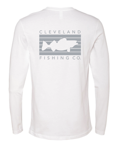 The back of a white long sleeve t shirt with a light grey rectangular logo with a walleye fish in the middle and Cleveland Fishing Co. on the outside.
