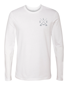 The front of a white long sleeve t-shirt with a grey CLE crossed rods logo on the front left chest.