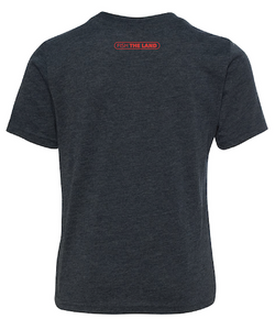 The back of a navy blue, youth t-shirt with a red fishing logo in the middle of the shirt towards the top collar.