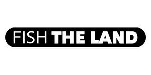 "A white ""Fish The Land"" logo with black inside."