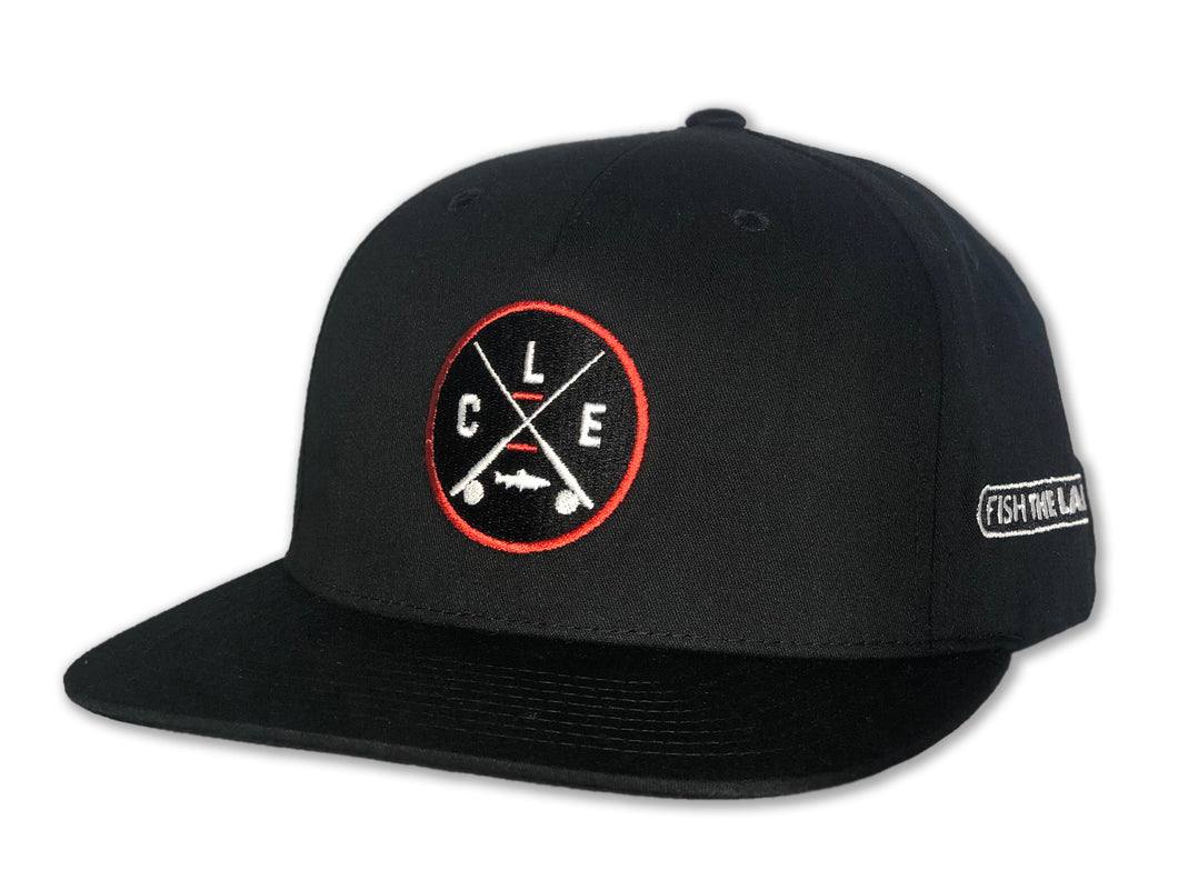 All black flat bill hat with CLE X crossed rods logo with orange circle around it.