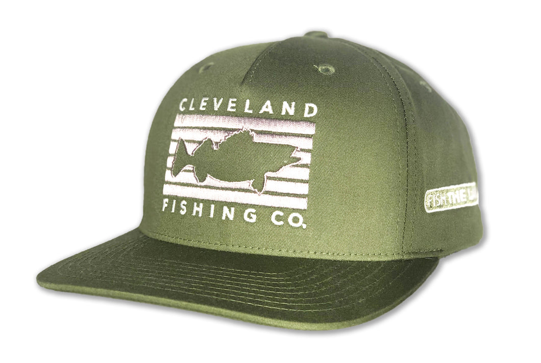 Army olive green flat bill hat with grey Cleveland Fishing Company rectangle logo with walleye outline in the middle.