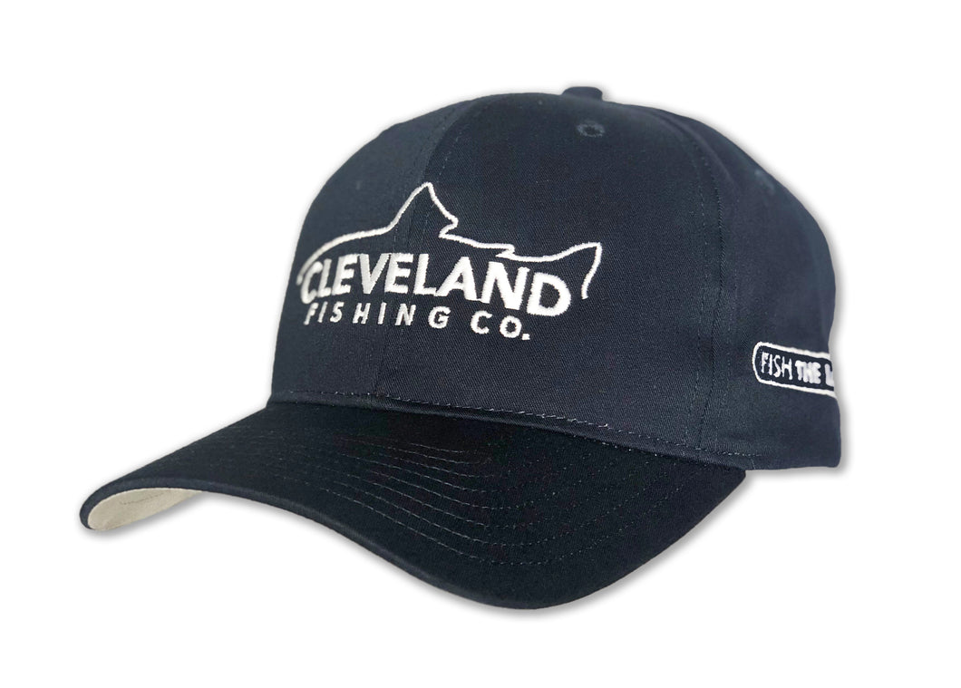 Navy baseball cap with white fish silhouette logo that says Cleveland Fishing Company and Fish The Land on the side.