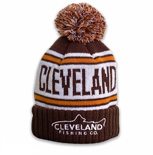 Snow Belt - Winter Knit Beanie - Brown / Orange