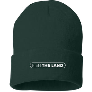 Forest green winter beanie cap with white Fish The Land logo on the center cuff