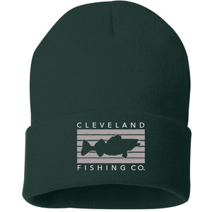 Forest green winter beanie cap with grey rectangle fish walleye logo and Cleveland Fishing Co on the outside