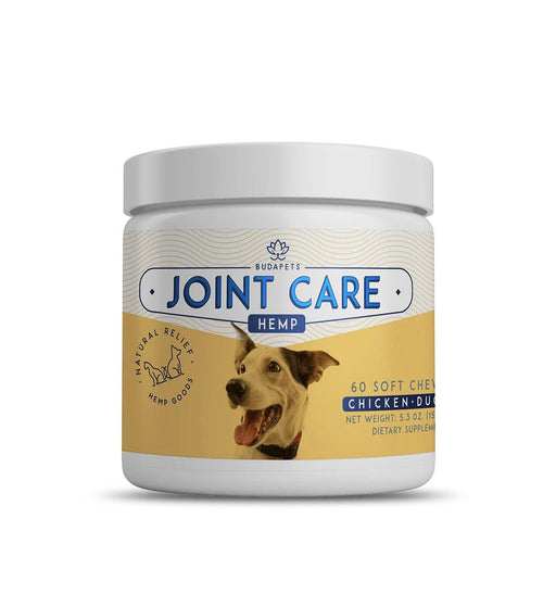 BUDAPETS Pet 60 Count Hemp Chews | Joint Care Support for Dogs | 5.3 Oz | Chicken - Duck