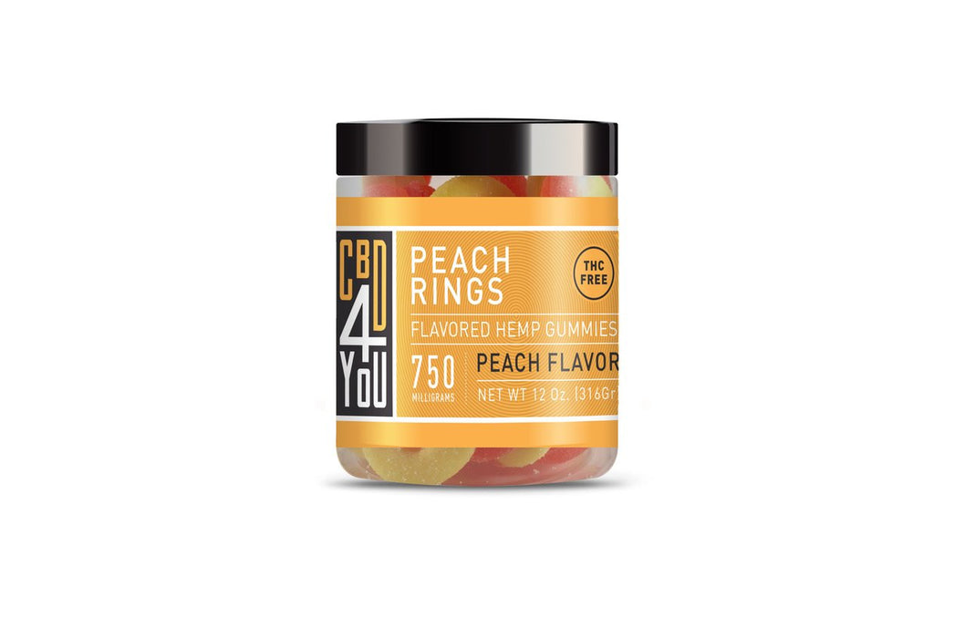 CBD4YOU Hemp Gummies Peach Ring - 500/750mg