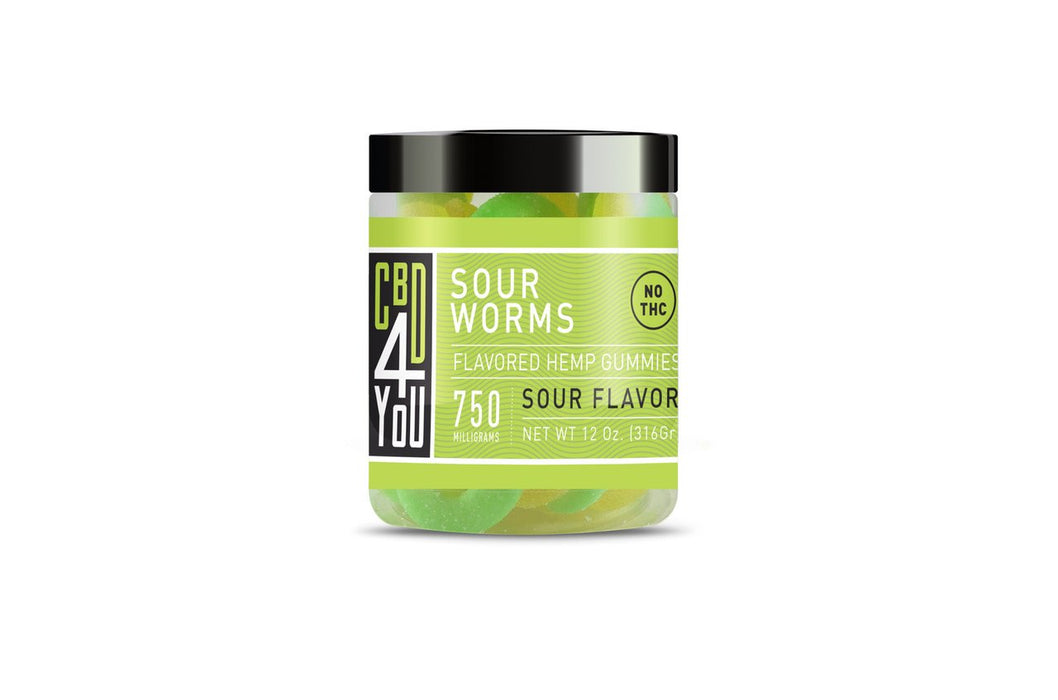 CBD4YOU Hemp Gummies Sour Worm - 500/750mg