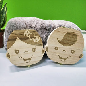 Wooden Baby Kids Tooth Storage Box