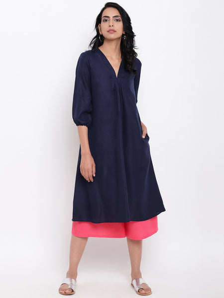 Linen Cotton Blue Pleats Kurta Pant Set