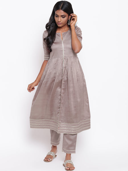 Brown Gota Slit Kurta Set