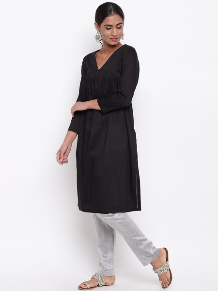 Black Slit Gathers Kurta And Pant Set