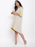 Linen Cotton Grey Collared Dress