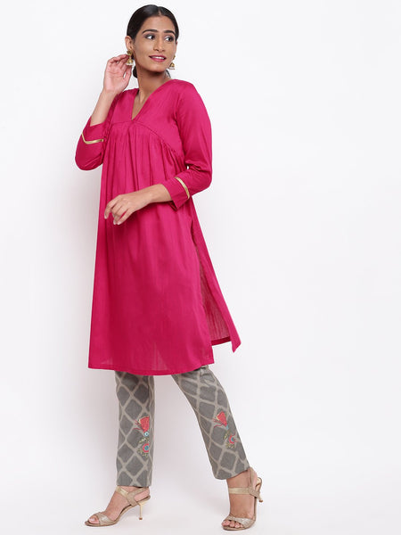 Pink Kurta And Grid Foil Pant Set