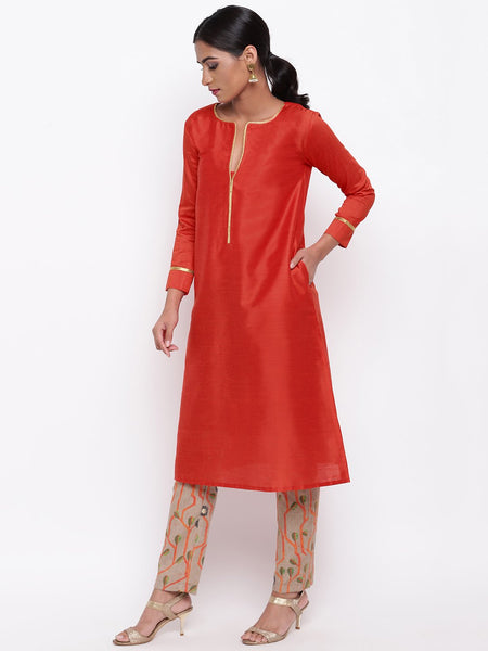 Orange Lace Kurta And Stem Foil Pant Set