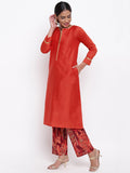 Orange Kurta And Foil Pant Set