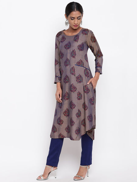 Grey Booti Kurta And Pant Set