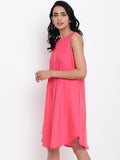 Linen Cotton Pink Pin-Tucks Dress