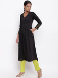 Black Embellished Sleeve Kurta And Pant Set