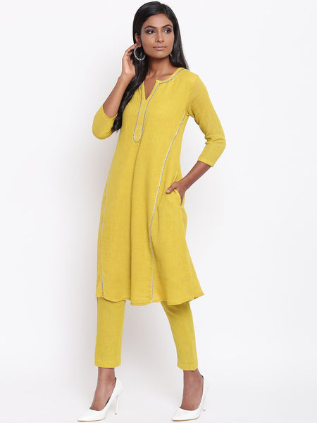 Yellow Gota Panel Kurta Set