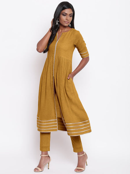 Green Gota Slit Kurta Set