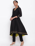Black Pop Green Kurta And Pant Set