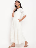 Ivory Chikan Border Dress
