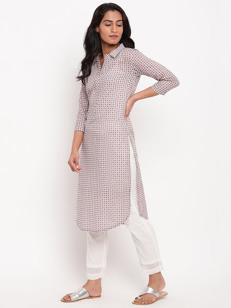 Pink Grid Collar Slit Kurta
