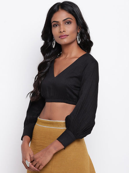Black Gathered Sleeve Top